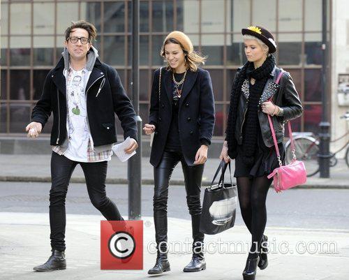 Nick Grimshaw, Alexa Chung and Pixie Geldof laugh...