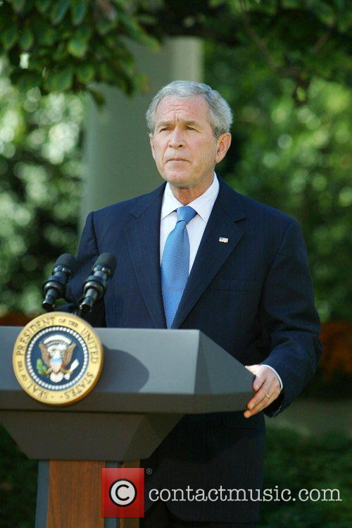 President George W Bush issues a statement on...