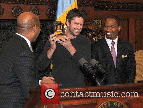 Mayor Michael Nutter with Jamie Foxx and Gerard...