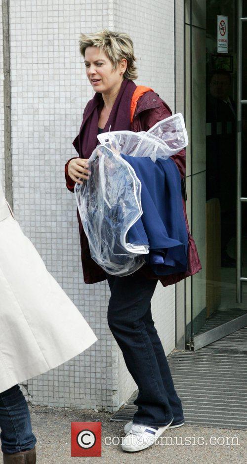 Penny Smith leaving GMTV studios London, England