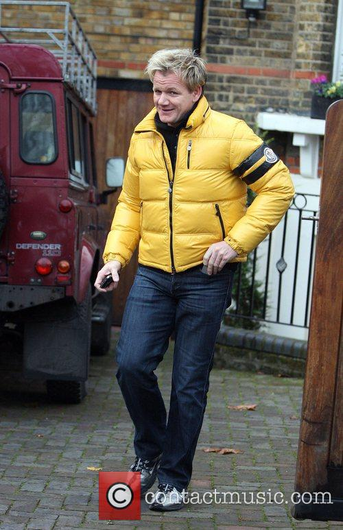 Gordon Ramsay leaving his house this morning with...