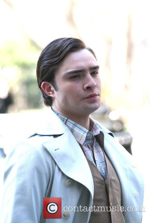 Ed Westwick The cast of 'Gossip Girl' filming...