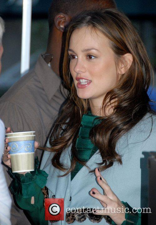 Leighton Meester on location filming the CW series...