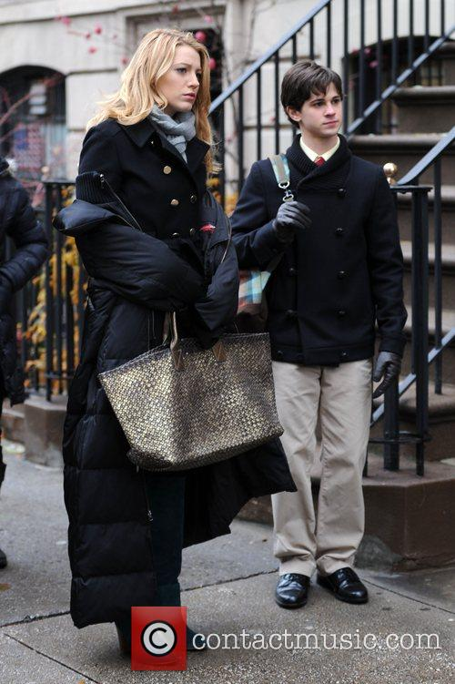 Blake Lively and Connor Paolo on the set...