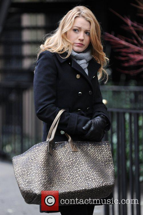 Blake Lively on the set of her show...