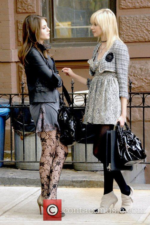 Guest and Taylor Momsen on location filming the...