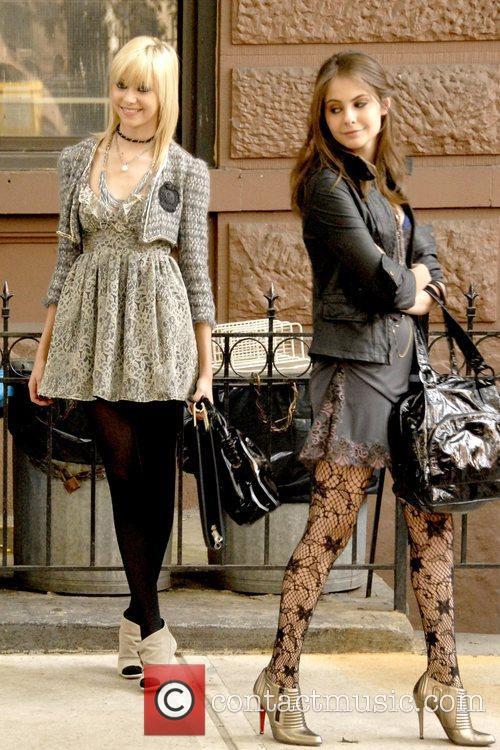 Taylor Momsen and Guest on location filming the...