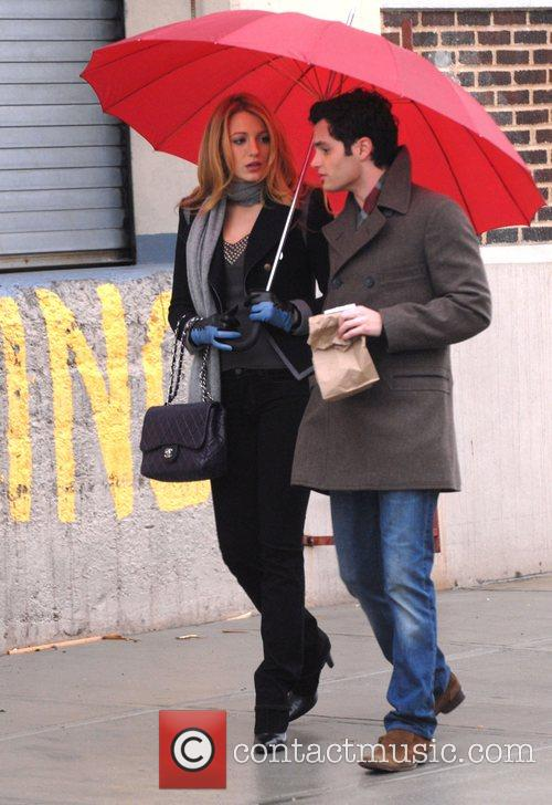 On the set of their show 'Gossip Girl'...