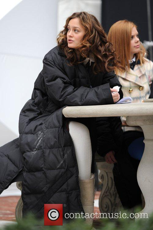 Leighton Meister on the set of 'Gossip Girl'...