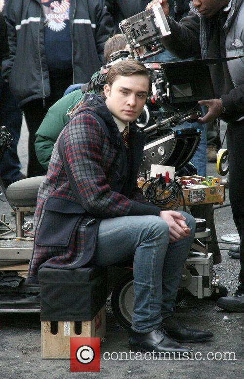 On location, filming an episode of 'Gossip Girl'