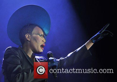 Grace Jones performing live at the Roundhouse London,...
