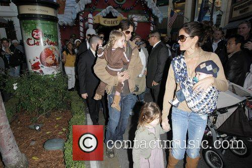 Christmas shopping at The Grove with their children