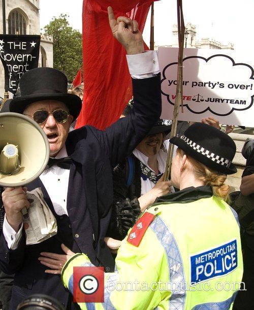 Demonstrator Professor Chris Knight outside the Houses Of...