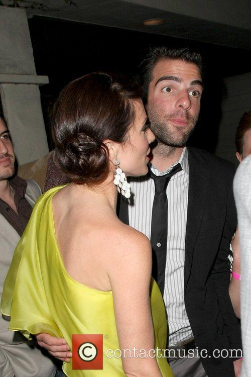 Lynn Collins and Zachary Quinto leaving the Guys...