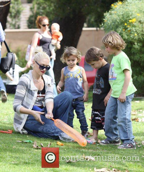 Gwen Stefani playing with her son, Kingston, at...