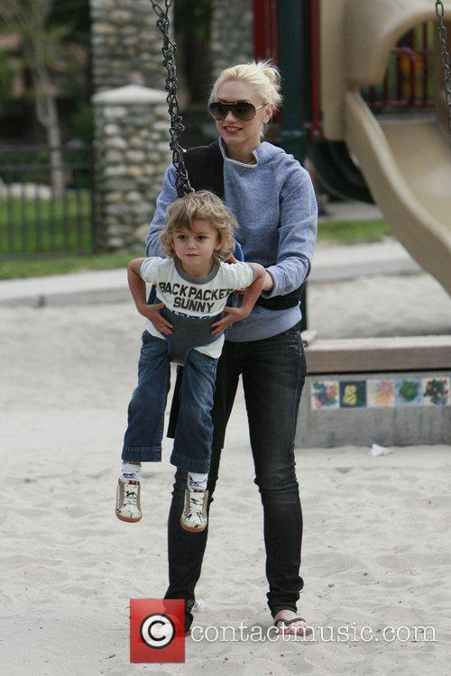 Gwen Stefani pushes her son Kingston on a...