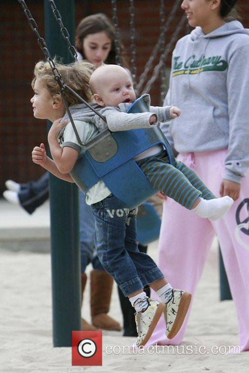 Zuma and Kingston Rossdale enjoy themselves on a...