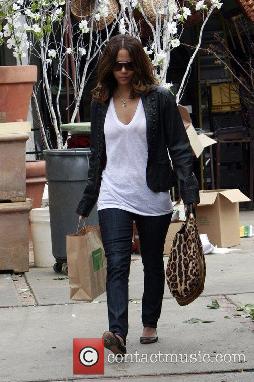 Halle Berry seen shopping at a florists on...