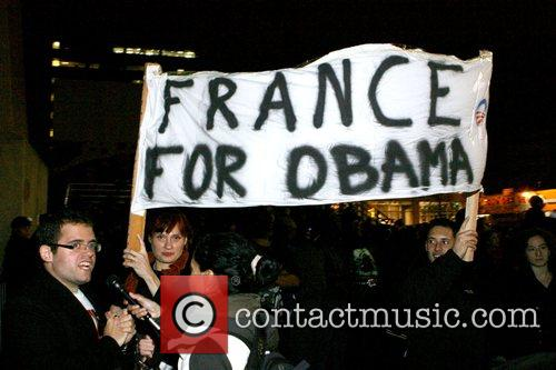 Barack Obama supporters from France election night party...