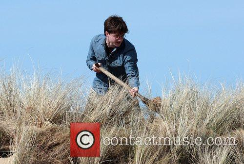 Daniel Radcliffe who plays 'Harry Potter' filming on...