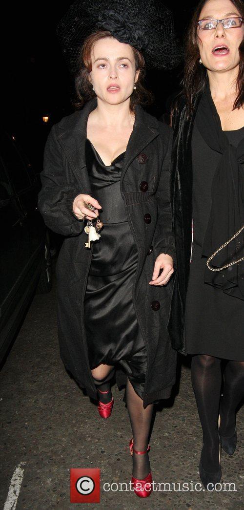 Helena Bonham Carter looking a little worse for...