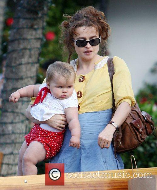 Helena Bonham Carter seen with her young daughter...