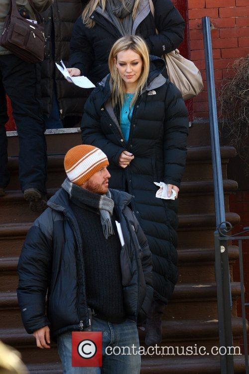 Hilary Duff filming on the set of the...