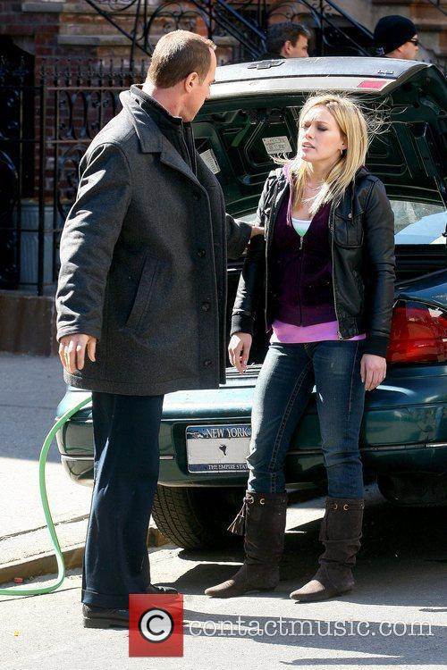 Christopher Meloni and Hilary Duff filming on the...