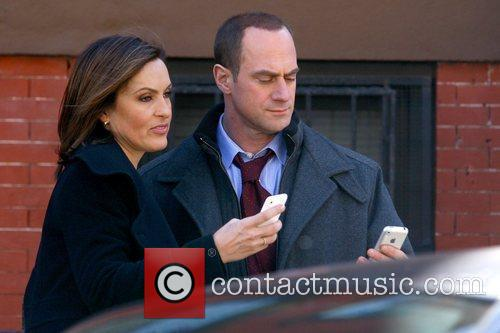 Mariska Hargitay and Christopher Meloni filming on the...