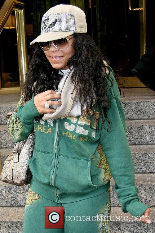 Outside her Manhattan hotel