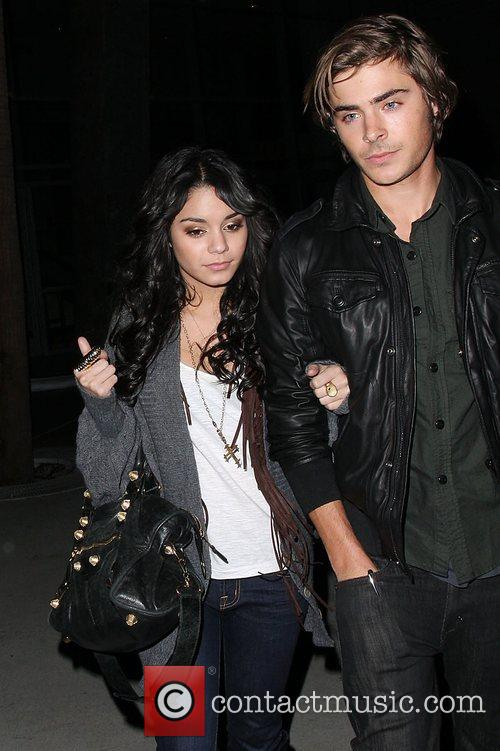 Vanessa Hudgens and Zac Efron leaving a Lakers...