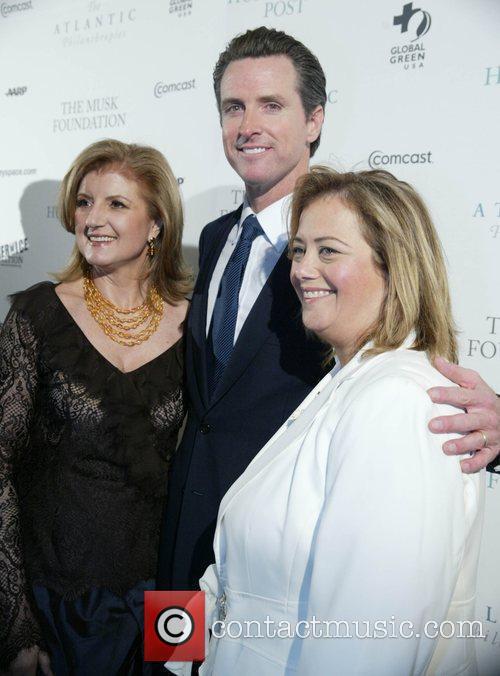 Arianna Huffington, Gavin Newsom and Huffington Post Editor Hilary Rosen 2