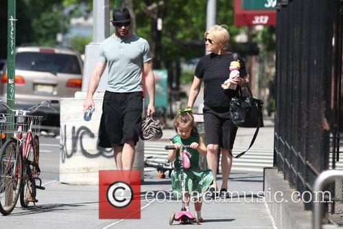 Hugh Jackman, Carrying A Picnic Blanket, His Wife Deborra-lee Take Daughter, Ava Eliot and For A Scooter Ride 8