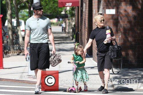 Hugh Jackman, Carrying A Picnic Blanket, His Wife Deborra-lee Take Daughter, Ava Eliot and For A Scooter Ride 11