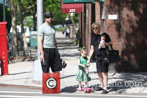Hugh Jackman, Carrying A Picnic Blanket, His Wife Deborra-lee Take Daughter, Ava Eliot and For A Scooter Ride 5