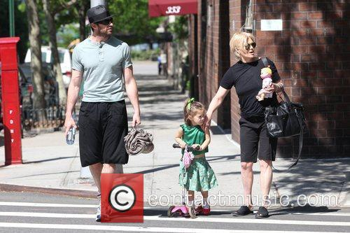 Hugh Jackman, Carrying A Picnic Blanket, His Wife Deborra-lee Take Daughter, Ava Eliot and For A Scooter Ride 1