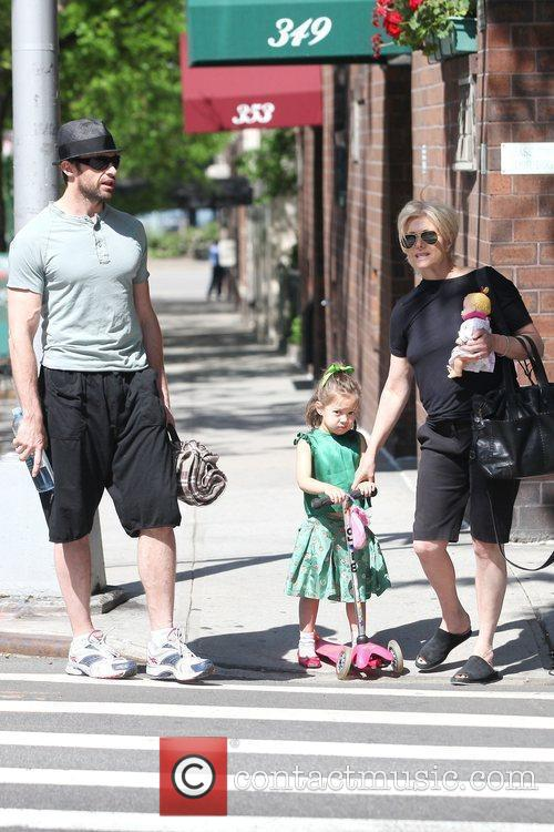 Hugh Jackman, Carrying A Picnic Blanket, His Wife Deborra-lee Take Daughter, Ava Eliot and For A Scooter Ride 9