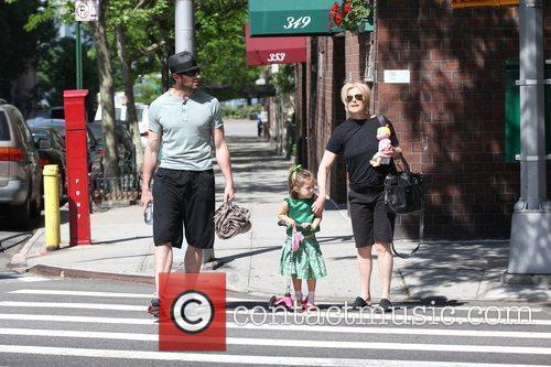 Hugh Jackman, Carrying A Picnic Blanket, His Wife Deborra-lee Take Daughter, Ava Eliot and For A Scooter Ride 10