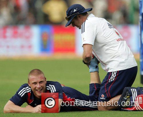 Andrew Flintoff playing for England in the Fourth...