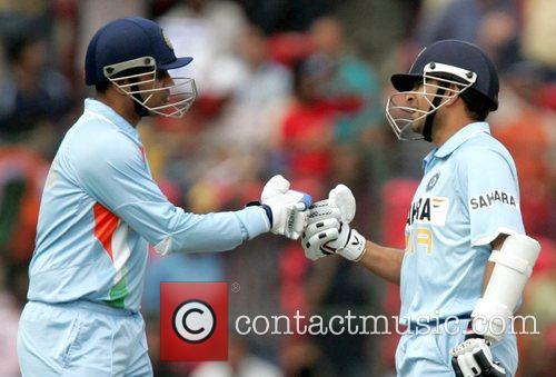 Sachin Tandulkar and Virender Sehwag playing for India...