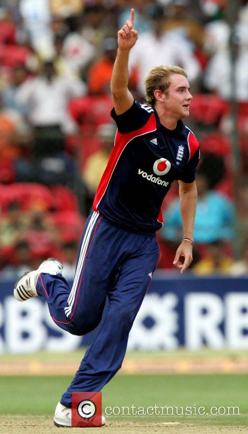 Stuart Broad playing for England in the Fourth...