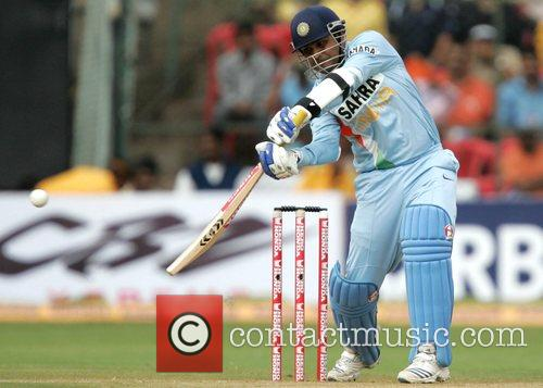 Virender Sehwag playing for India in the Fourth...