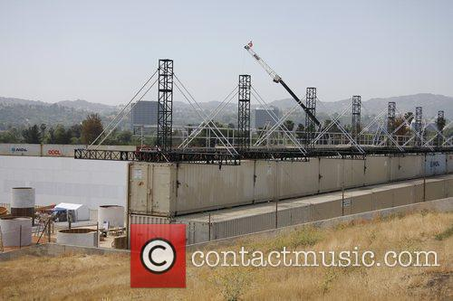 A Massive Construction Project In The Foot Of A Huge Dam Which Is Being Used For The Set Of Upcoming Movie 'iron Man 2' 2