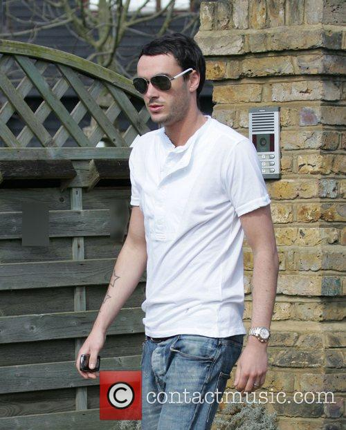 Outside his wife Jade Goody's house