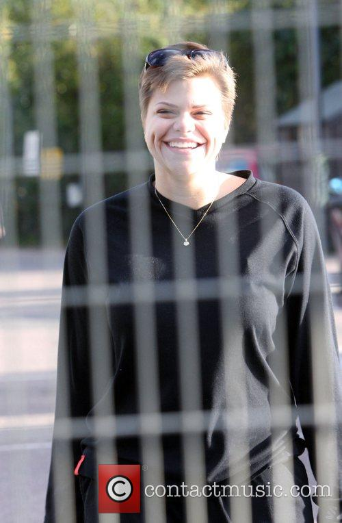Jade Goody at a car compound to collect...