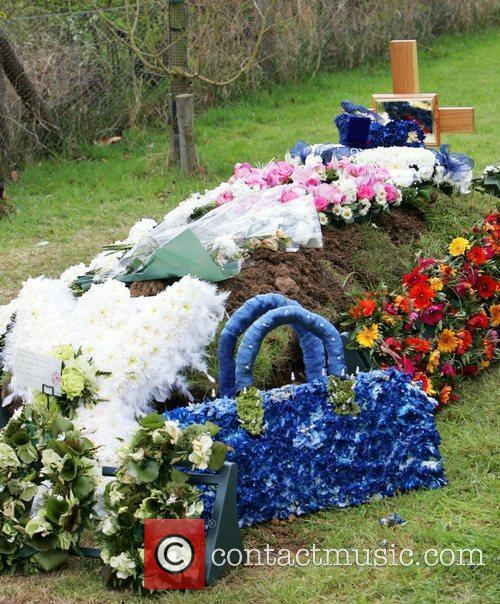 The grave of Jade Goody in the grounds...