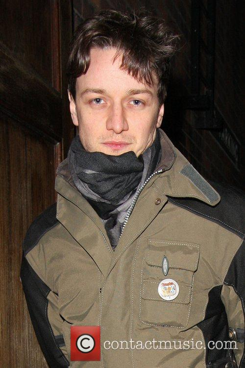 James Mcavoy going into the theatre wearing a...