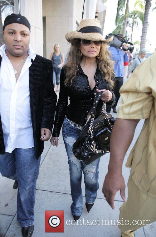La Toya Jackson shopping with a film crew...