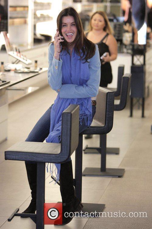 Janice Dickinson visits the MAC cosmetics store on...