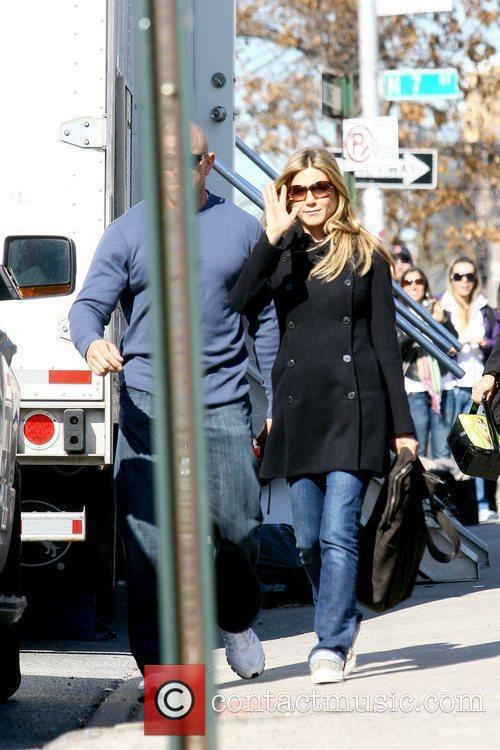 Jennifer Aniston on the set of her new...